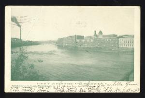 Manchester, New Hampshire/NH Postcard, View Of Mills & Merrimack River, 1909