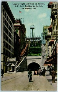 Los Angeles CA Postcard ANGEL'S FLIGHT Incline Railway Street View Dated 1924