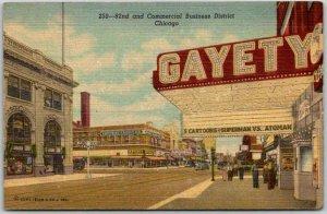 1940s CHICAGO, Illinois Postcard GAYETY THEATRE Street Scene Curteich Linen