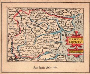 Essex in 1627 Medieval Map Large Vintage Speed Atlas Christmas Card