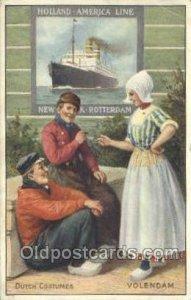 Volendam Holland - America Line, Steamer, Steam Boat, Ship Writing on back