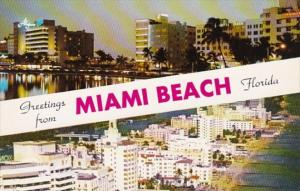 Florida Greetings From Miami Beach Showing Skyline and Hotel Row Along The Beach