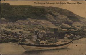 Gloucester MA Salt Island Lobsterman Lobster Fisherman Boat Wagon Postcard