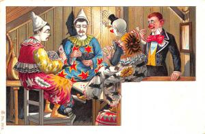 Clowns Playing Poker Early #7013 Postcard