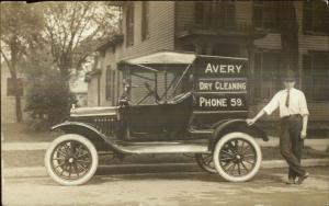 Car Advertising AVERY DRY CLEANING Proud Man Crisp RPPC Real Photo Postcard