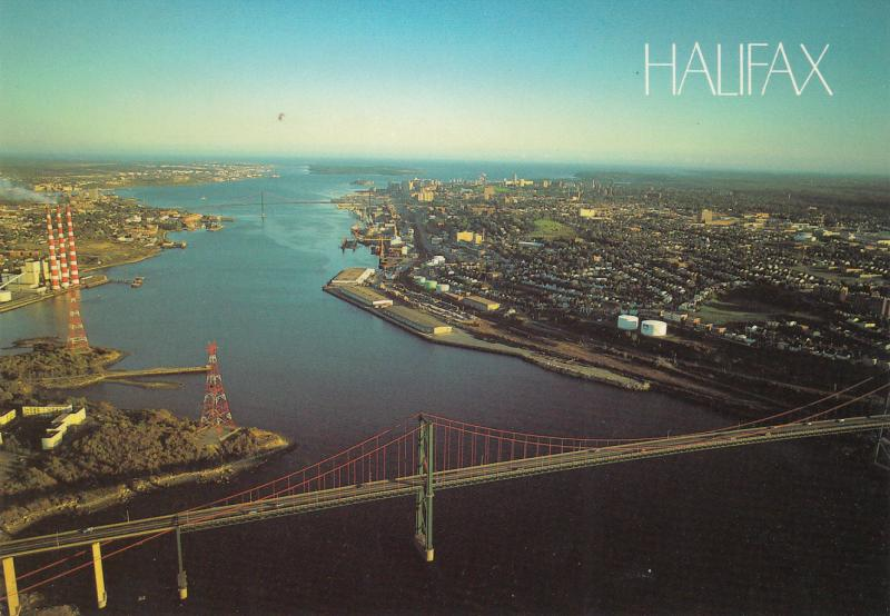 HALIFAX CANADA MCKAY & MCDONALD BRIDGES FROM THE AIR