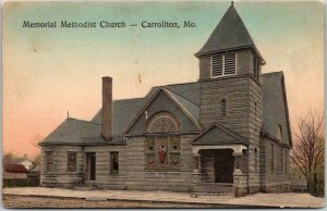 Carrollton, Missouri Postcard Memorial Methodist Church Hand-Colored / Unused