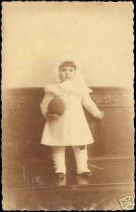 Sweet Little Baby Girl with Ball, White Dress 10s RPPC