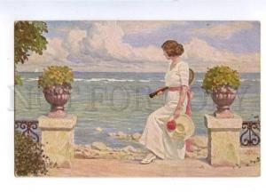 161346 TENNIS girl by Paul FISCHER Vintage colorful PC