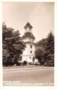 Corvallis Oregon birds eye view Benton Co Court House real photo pc Y15207