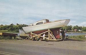 MAHONE BAY, Nova Scotia, 50-60s; Finishing coat on new ACADIAN Fiberglass boat