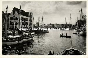 curacao, N.W.I., WILLEMSTAD, Schooner Trafic in Harbor (1950s) RPPC