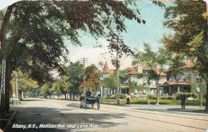 Albany New York~Madison Ave Near Lake Ave~Horse Buggy~Nice Homes~1908 Postcard