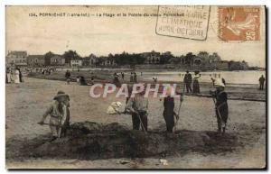 Old Postcard Pornichet La Pointe Beach and the old Pornichet Children
