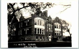 Galva, Illinois RPPC Real Photo Postcard F.U. WHITE SCHOOL Building View