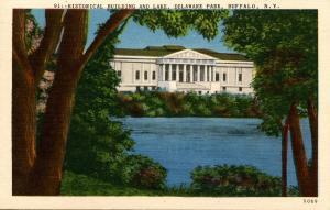 NY - Buffalo. Historical Society Building and Lake in Delaware Park