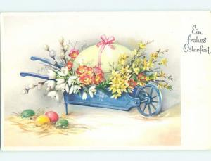 1961 Easter foreign LARGE EGG AND FLOWERS IN BEAUTIFUL WHEELBARROW HL8821