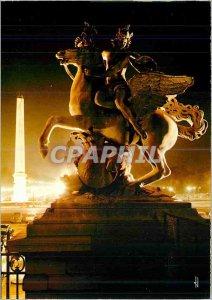 Modern Postcard Paris Sortileges the night Place de la Concorde The Obelisk o...