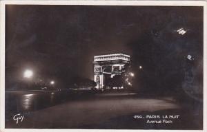 RP; Illuminated Arc de Triomphe de l'Etoile, Avenue Foch, PARIS, France, 10-20s