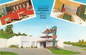 Salem Oregon China City Restaurant Multiview Vintage Postcard K31410