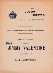 Alias Jimmy Valentine Harry Nicholls Florence Harwood Comedy Theatre Programme
