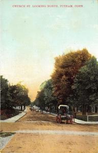 Putnam Connecticut~Church Street Looking North~Horse & Buggy on Unpaved Rd~c1910