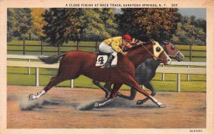 A Close Finish at Race Track, Saratoga Springs, N.Y., Early Linen Postcard, Used