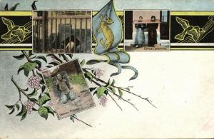 china, Chinese Prisoners, Punishment Multiview Postcard (1910s) Dragon Flag