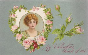VALENTINE´S DAY, 1900-1910´s; My Valentine Think Of Me, Heart Shaped Wreath