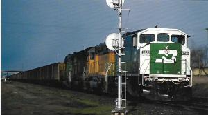 TRAINS, A GHOSTLY FACE, BURLINGTON NORTHERN SD60M  #9225