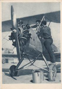 Airplane repair , Czech Republic , 1930s ; Doplnovani-pohonnych hmot #2