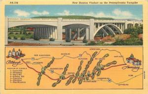Pennsylvania~New Stanton Viaduct On Turnpike~1940s Postcard