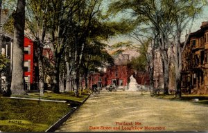 Maine Portland State Street and Longfellow Monument