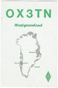 OX3TN To Radio W80AR, Westgreenland, Denmark, PU-1945