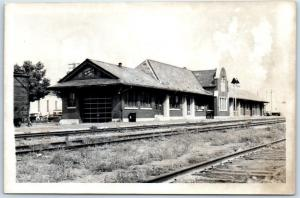 1950s RPPC Photo Postcard Chicago & Northwestern Railway Depot Location Unknown