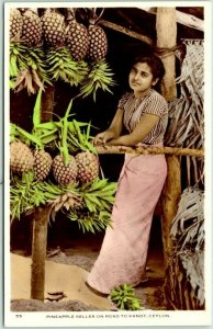 SRI LANKA Ceylon Real Photo RPPC Postcard Pineapple Seller on Road to Kandy