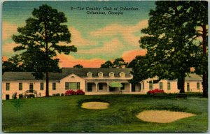 1940s COLUMBUS, Georgia Postcard COUNTRY CLUB Golf Course Clubhouse View Linen