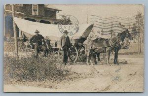 PINEHURST NC SCENE w/ COVERED HORSE WAGON ANTIQUE REAL PHOTO POSTCARD RPPC