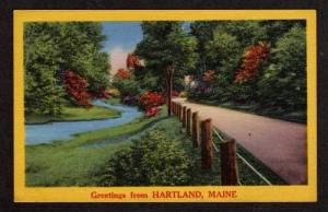ME Greetings from HARTLAND MAINE Postcard Linen PC