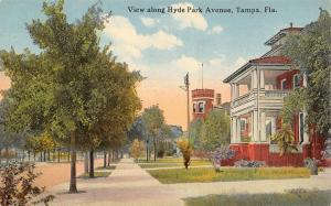 Tampa Florida~Hyde Park Avenue~Big Homes~Porch~Castle Tower~1910 Postcard