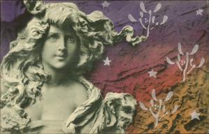 Art Nouveau - Sculpture Beautiful Girl Unusual Color Scheme - Mastroiani? PC