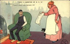 Tom Browne Comic Landlady Wants the Rent Money c1910 Postcard