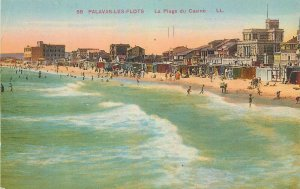 cpa France Palavas les flots plage casino beach sea-side waves tourists hotel