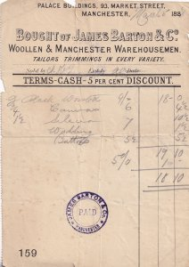 Manchester Victorian 1888 Tailors Wool Antique Receipt