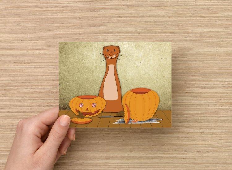 Single (1) Original Art Postcard Oliver The Otter Carves A Pumpkin For Halloween