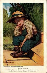 Pensive Boy Sitting on Stoop, Overalls V.C. Anderson c1913 Postcard M14