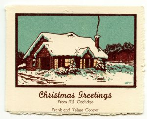 Christmas Greetings From 911 Coolidge Frank and Velma Cooper Card & Envelope
