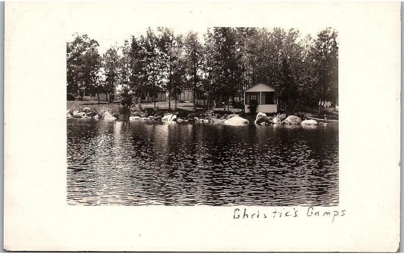 RPPC ME Newport Christie's Camps Lake Sebasticook Real Photo Postcard K80