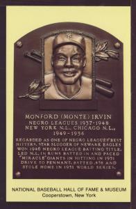 Monford Irvin Baseball Hall Fame Post Card 3240