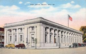 Post Office, Beloit, Wisconsin, Early Linen Postcard, Unused